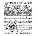 CI-330 - 'I Saw Three Ships' Art Rubber Stamp, 80mm x 90mm
