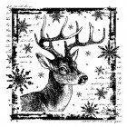 CI-332 - 'Snowflake Rudolph' Art Rubber Stamp, 80mm x 80mm