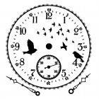 CI-352 - 'Flying Birds Clock Face' Art Rubber Stamp, 85mm x 90mm