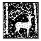CI-358 - 'Magical Reindeer' Art Rubber Stamp, 80mm x 82mm