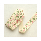 Must Haves - 'Cream & Pink Floral Cotton Ribbon Trim', 15mm x 1 metre