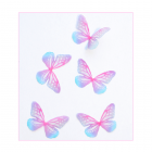 Must Haves - '5 Small Pink and Blue Organza Butterflies', 30mm x 20mm