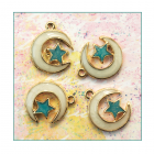 Must Haves - '4 Enamelled and Gold Moon and Star Charms', 16mm x 20mm