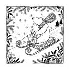 CI-484 - 'Christmas Sledging Fun' Art Rubber Stamp, 93mm x 93mm