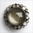 Must Haves - 'Old Gold Brooch Jewellery Round Setting with Glass', 38mm