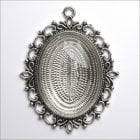 Must Haves - Silver Oval Large Pendant Jewellery Setting with Glass', 48mm x 55mm