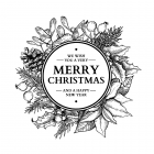 CI-504 - 'Christmas Wreath' Art Rubber Stamp, 100mm x 97mm