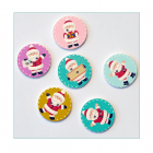 Must Haves - 'Wooden Round Santa Xmas Buttons x 6', 25mm x 25mm