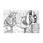 "CI-544 - 'Three Birds"" Art Rubber Stamp, 136mm x 87mm"