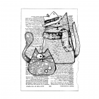 CI-568 - 'Trilby Cats' Art Rubber Stamp, 96mm x 133mm