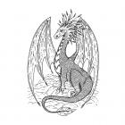 CI-580 - 'Gentle Dragon' Art Rubber Stamp, 92mm x 136mm