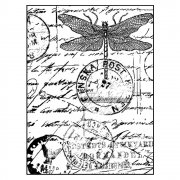 CI-001 - 'Dragonfly Post' Art Rubber Stamp, 71mm x 95mm