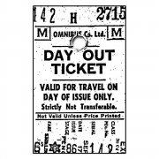 CI-022 - 'Day Out Ticket' Art Rubber Stamp, 50mm x 80mm