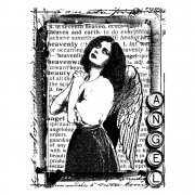 CI-056 - 'Praying Angel' Art Rubber Stamp, 72mm x 95mm