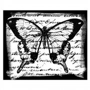 CI-061 - 'Butterfly Script' Art Rubber Stamp, 65mm x 55mm