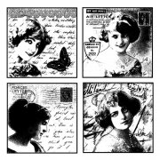 CI-065 - 'Love Letter Ladies' Art Rubber Stamp, 85mm x 85mm