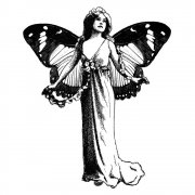 CI-108 - 'Winged Butterfly Lady' Art Rubber Stamp, 70mm x 85mm
