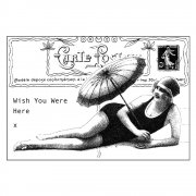 CI-119 - 'Beach Babe' Art Rubber Stamp, 93mm x 62mm