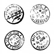 CI-122 - 'Four Postmarks' Art Rubber Stamp, 65mm x 65mm