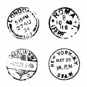 CI-124 - 'Four Postmarks' Art Rubber Stamp, 65mm x 65mm