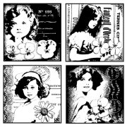 CI-131 - 'Four Pretty Young Girls' Art Rubber Stamp, 85mm x 85mm