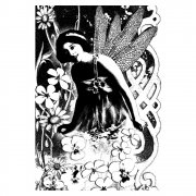 CI-132 - 'Fairy Garden' Art Rubber Stamp, 65mm x 95mm