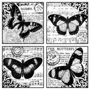 CI-135 - 'Four Beautiful Butterflies' Art Rubber Stamp, 85mm x 85mm