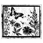 CI-152 - 'Butterfly Meadow' Art Rubber Stamp, 90mm x 75mm
