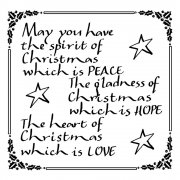 CI-167 - 'Spirit of Christmas Calligraphy' Art Rubber Stamp, 70mm x 70mm