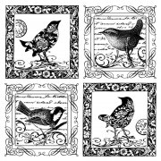 CI-184 - 'Four Little Songbirds' Art Rubber Stamp, 85mm x 85mm
