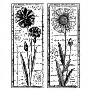 CI-185 - 'Tall Wild Flowers' Art Rubber Stamp, 77mm x 95mm