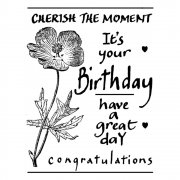 CI-195 - 'Birthday Flower' Art Rubber Stamp, 57mm x 75mm