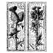 CI-204 - 'Two Scottish Thistles' Art Rubber Stamp, 80mm x 95mm