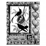 CI-205 - 'Hummingbird Collage' Art Rubber Stamp, 70mm x 90mm