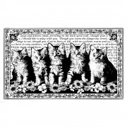 CI-222 - 'Five Fluffy Kittens' Art Rubber Stamp, 90mm x 55mm