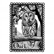 CI-225 - 'Airmail Owl' Art Rubber Stamp, 60mm x 80mm