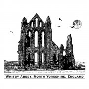 CI-227 - 'Whitby Abbey' Art Rubber Stamp, 82mm x 70mm