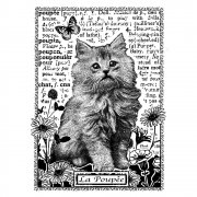 CI-229 - 'Kitten Amongst Flowers' Art Rubber Stamp, 60mm x 85mm
