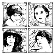 CI-238 - 'Parisian Beauties' Art Rubber Stamp, 85mm x 85mm
