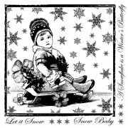 CI-240 - 'Little Snow Baby' Art Rubber Stamp, 85mm x 85mm