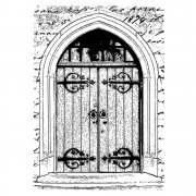 CI-249 - 'Gothic Door' Art Rubber Stamp, 65mm x 90mm