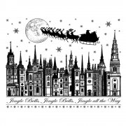 CI-254 - 'Jingle Bells Rooftops' Art Rubber Stamp, 92mm x 72mm