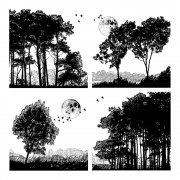 CI-259 - 'Four Tree Landscapes' Art Rubber Stamp, 90mm x 90mm