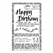 CI-261 - 'Happy Birthday Calligraphy' Art Rubber Stamp, 60mm x 95mm