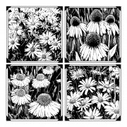 CI-262 - 'Four Delightful Daisies' Art Rubber Stamp, 85mm x 85mm