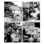 CI-263 - 'Four Country Cottages' Art Rubber Stamp, 85mm x 95mm