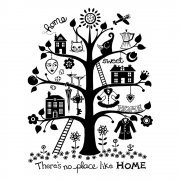 CI-280 - 'Home Sweet Home Tree' Art Rubber Stamp, 75mm x 90mm