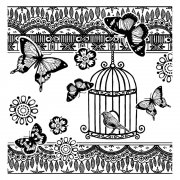 CI-301 - 'Bird and Butterflies' Art Rubber Stamp, 80mm x 81mm