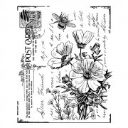 CI-302 - 'Floral Postcard' Art Rubber Stamp, 70mm x 85mm