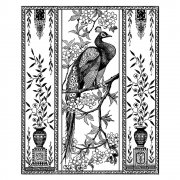 CI-310 - 'Elegant Peacock' Art Rubber Stamp, 80mm x 100mm